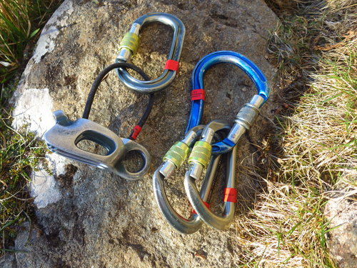 Oval Carabiner and a Belay Device, HMS Screwgate (Blue), and 2 D-Shaped Screwgate Carabiners