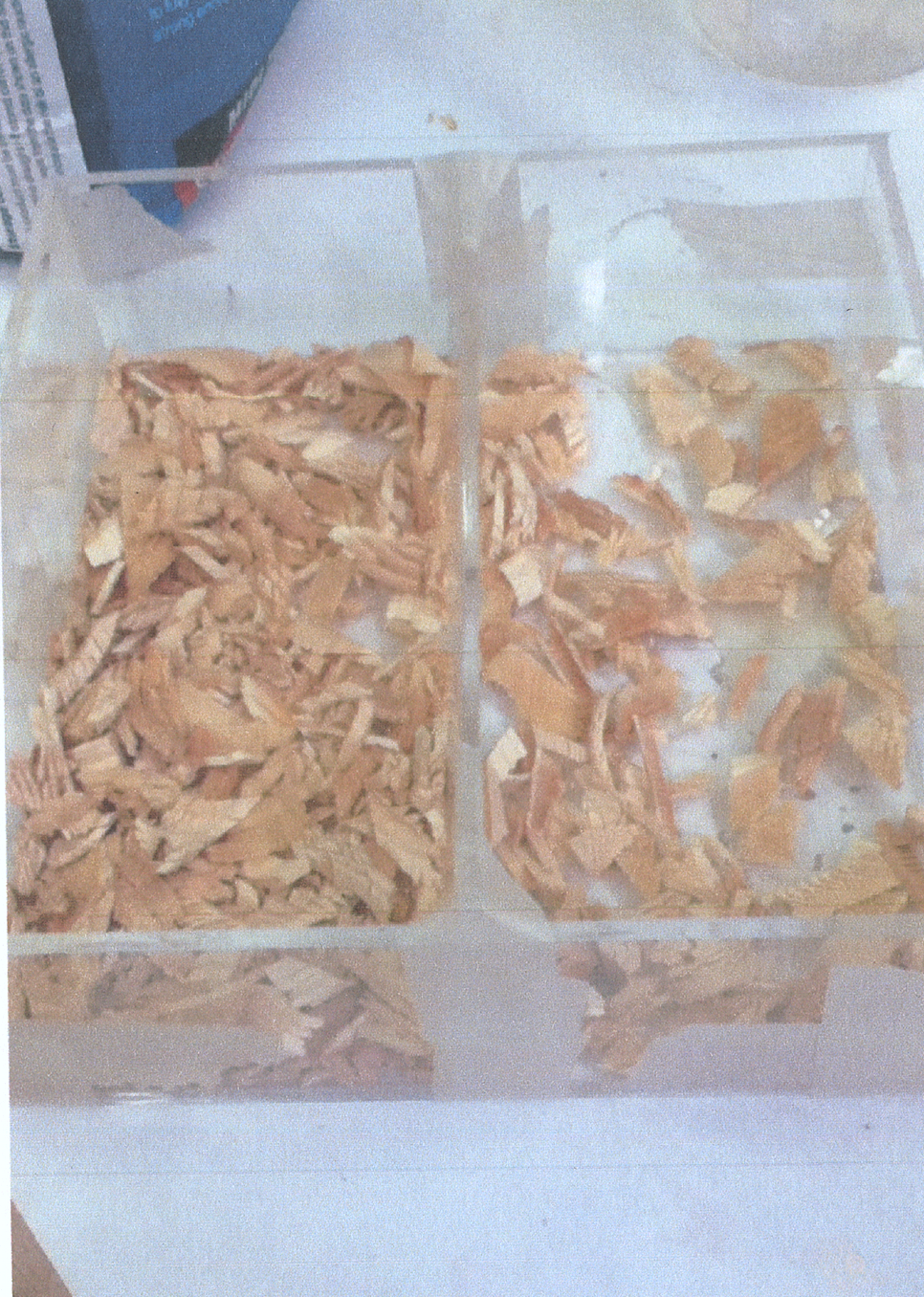 Wooden chips in cast chambers (experimenting with density of chips)