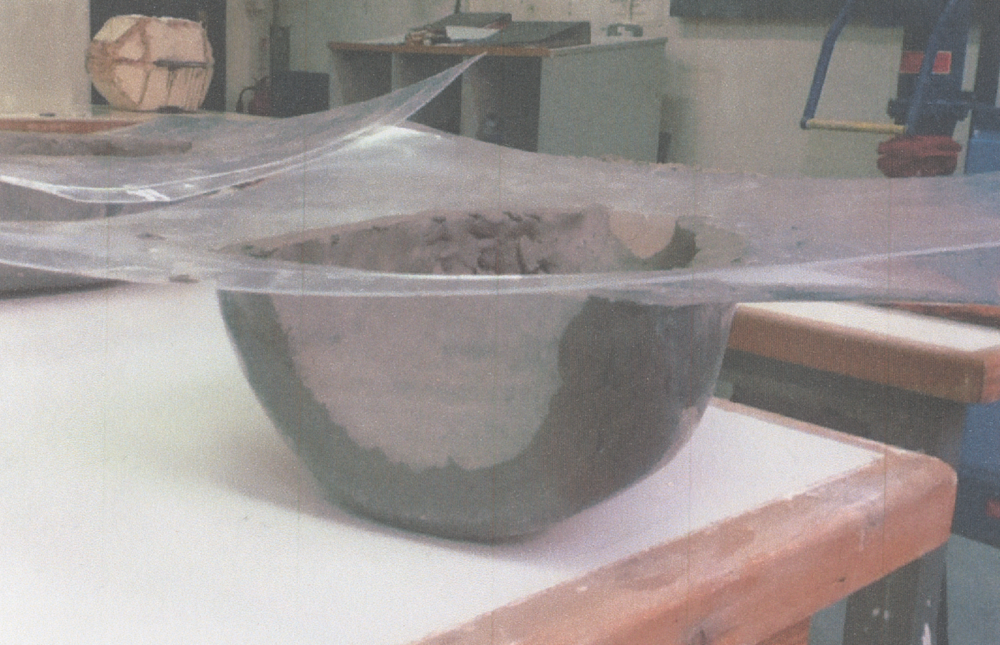 2. Vacuum form of the foam with clay layered up to form the wall thickness of the final piece