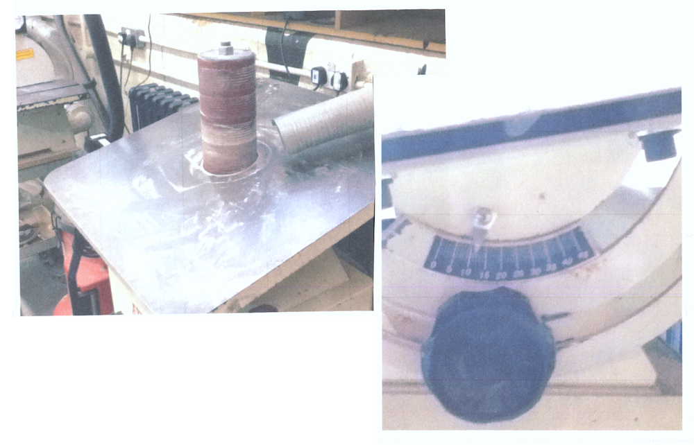 ? - With the brief requiring a physical product to be hand-made there was lots of experimentation in the workshop to achieve the desired outcome. [Right] tilting the boring sander bed to create the interior angles on the front wood loop. [Below] the casting of the speaker cabinet