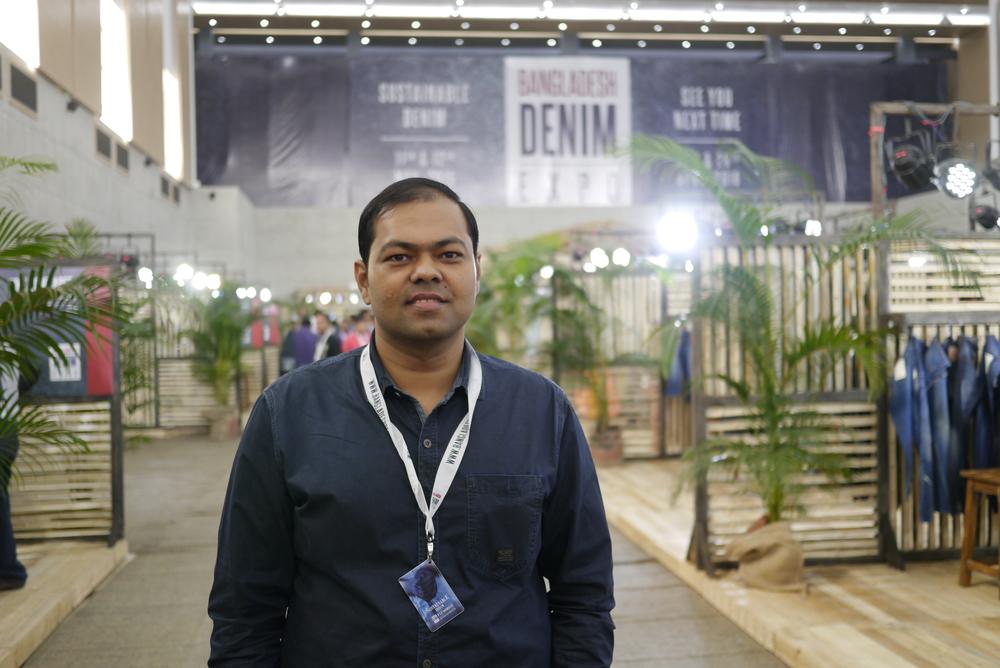 Mostafiz Uddin at the Bangladesh Denim Expo, photo by Sadia rafique