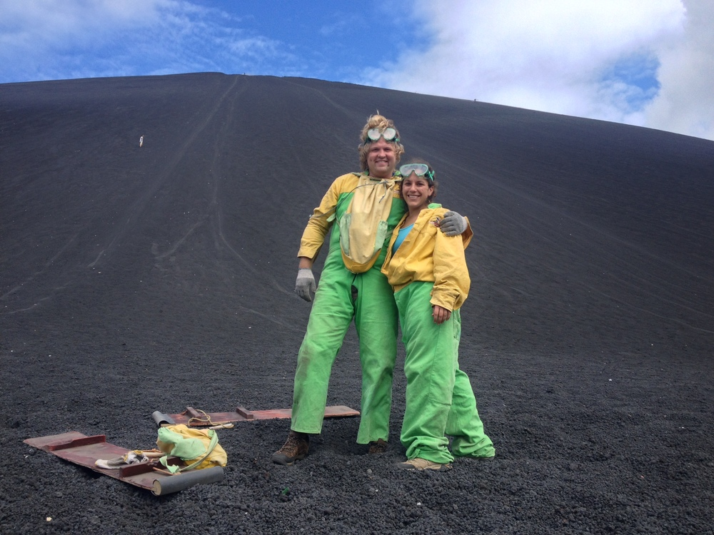 After volcano boarding in Nicaragua with Caroline S.