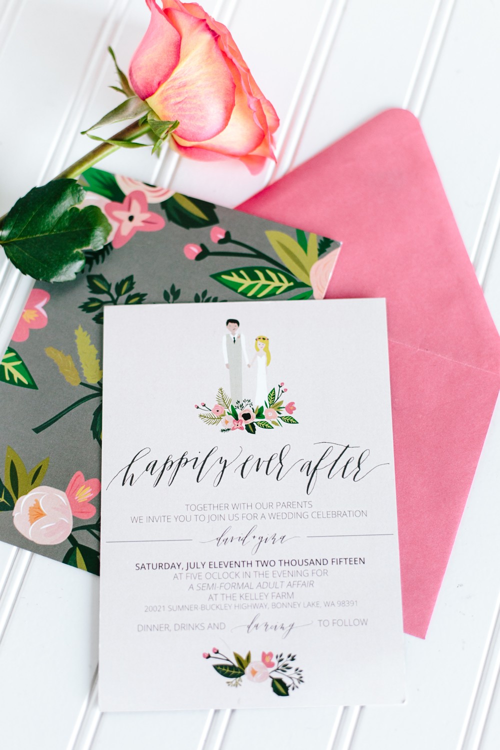 Calligraphy + Illustrated Wedding Invitation Suite — Eleven + West
