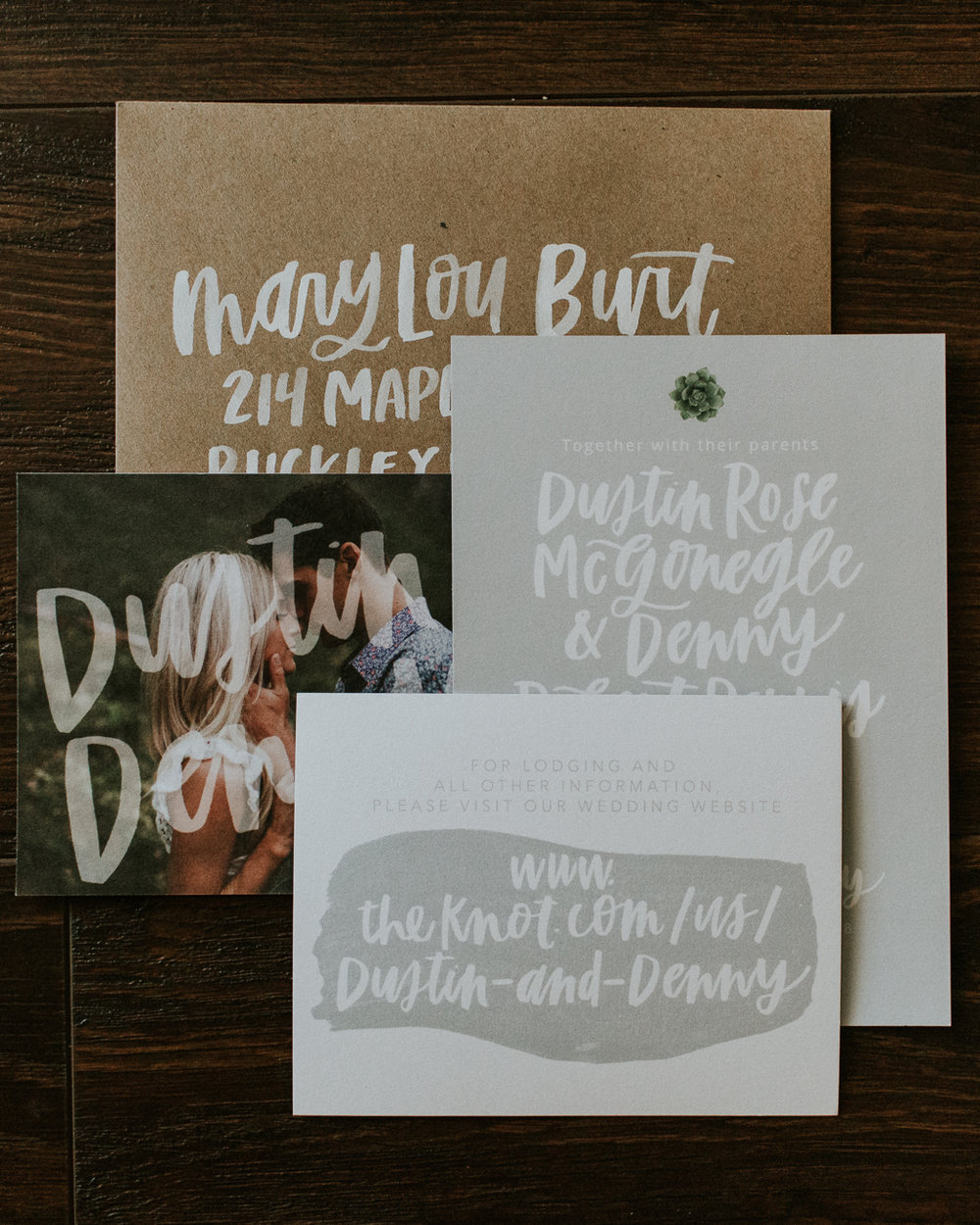 Natural Succulent Handlettered Wedding Invitations Eleven West