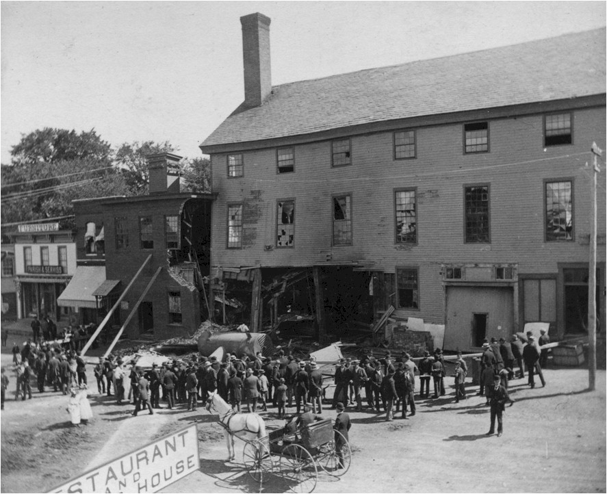 18 Center Street, August 26, 1892. Howe Scale building, boiler explosion (east side of street).jpg