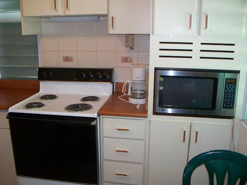 Kitchens are fully-equipped including coffee maker, microwave and toaster.