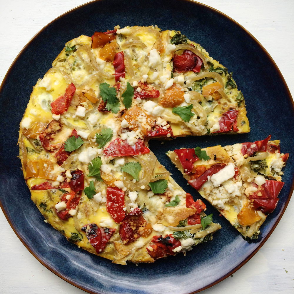 Roasted Red Pepper, Caramelized Onion and Kale Frittata — Solavore ...