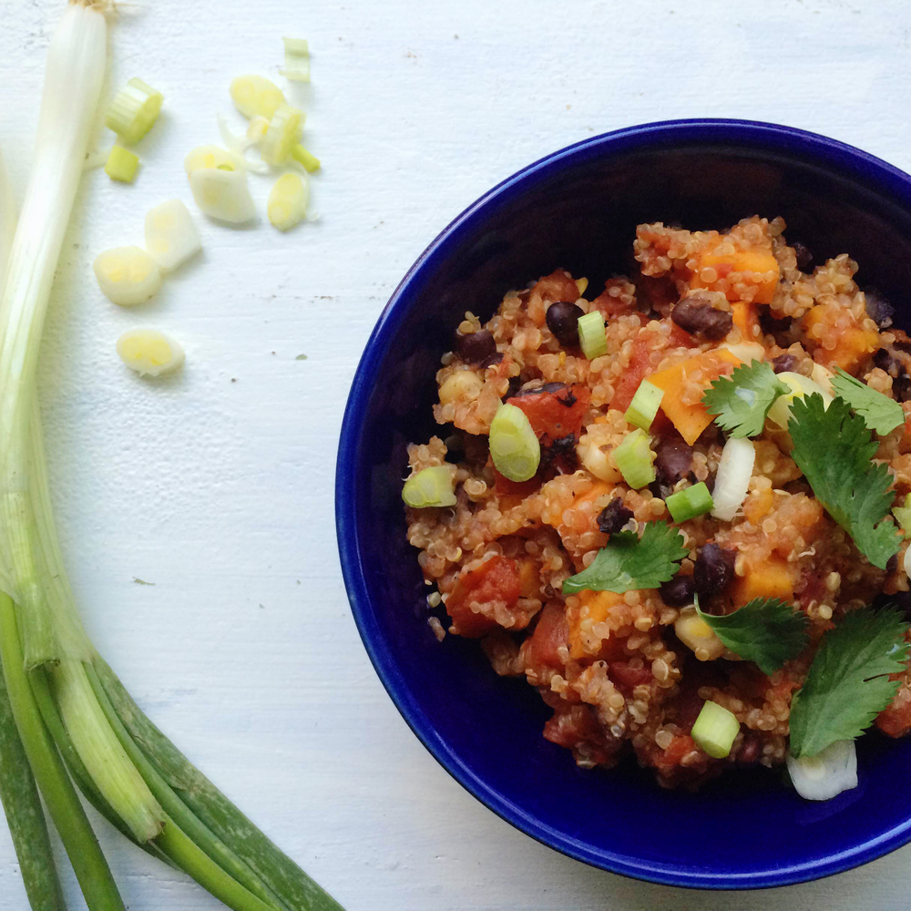 Solar cooker Southwestern Quinoa with Sweet Potatoes and Black Beans from the Solavore blog