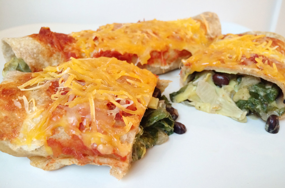 solar oven spinach and artichoke enchiladas