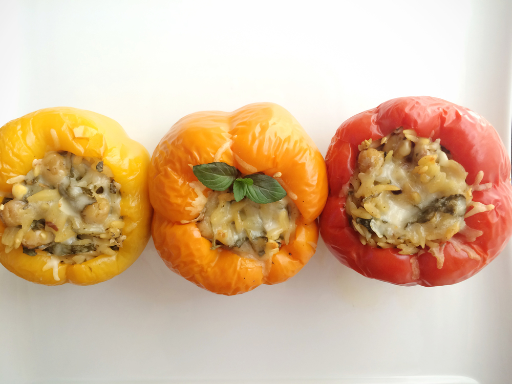 solar oven orzo stuffed peppers