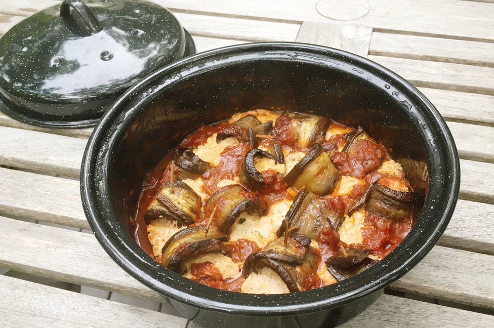 Sola Oven Rolled Eggplant with Sausage and Mozzarella from the Solavore Blog
