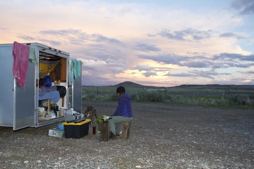 Cooking on a camp stove in our mobile kitchen, on BLM land in Wyoming. (Jeremiah Garcia)