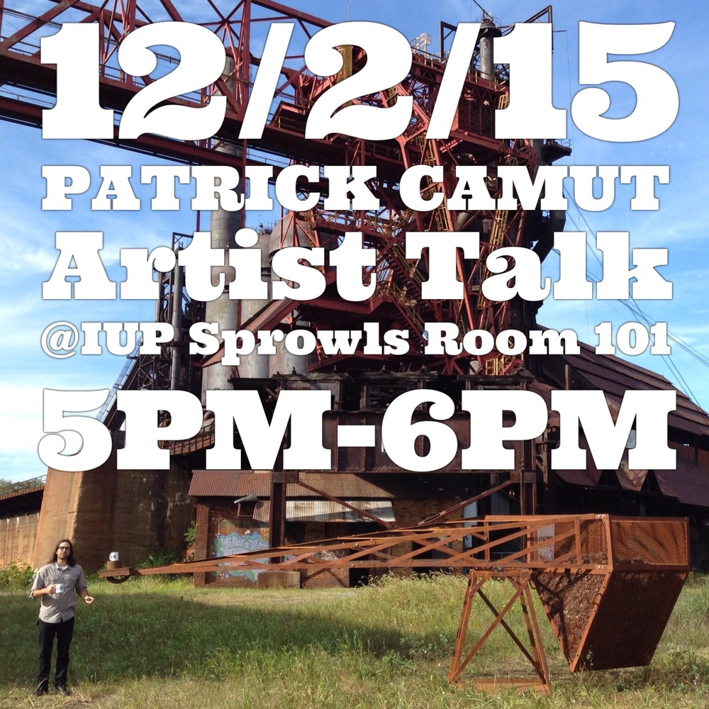 I will be at IUP next Wednesday 12/2/15 for an artist talk and MFA critiques!