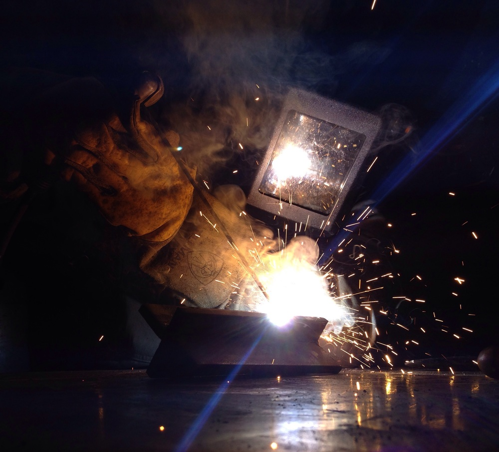 Action shot while welding a T-Joint with some 6010.