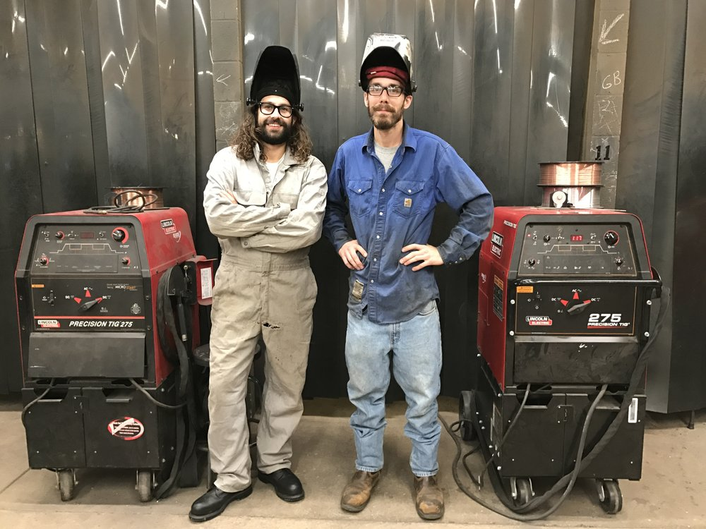 Patrick Camut and Welding Instructor Cody Stroud