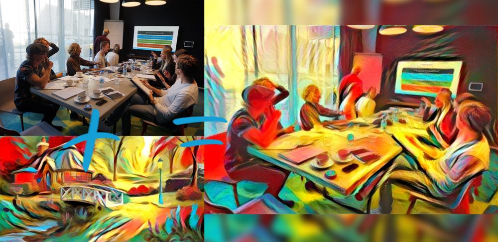 Två bilder kombinerade med Google DeepDream, som drivs av ett neuralt nätverk.