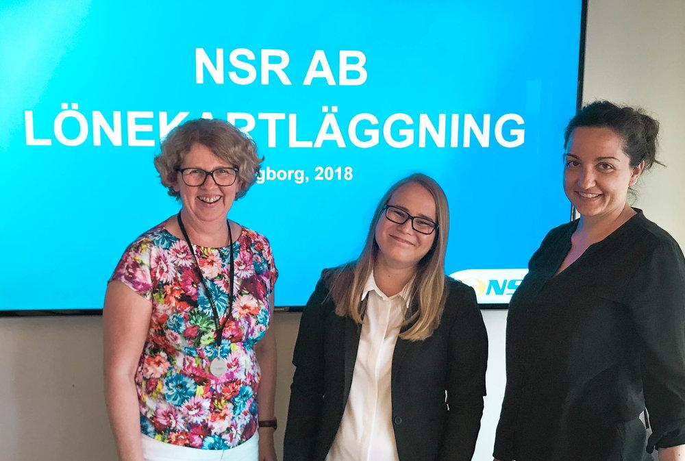 Från vänster ser vi NSR AB:s personal- och arbetsmiljösamordnare Kristina, Lunicores jämställdhetskonsult Anna och NSR AB:s ekonomichef Dragana.
