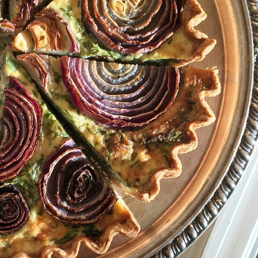 kale, herb & onion quiche