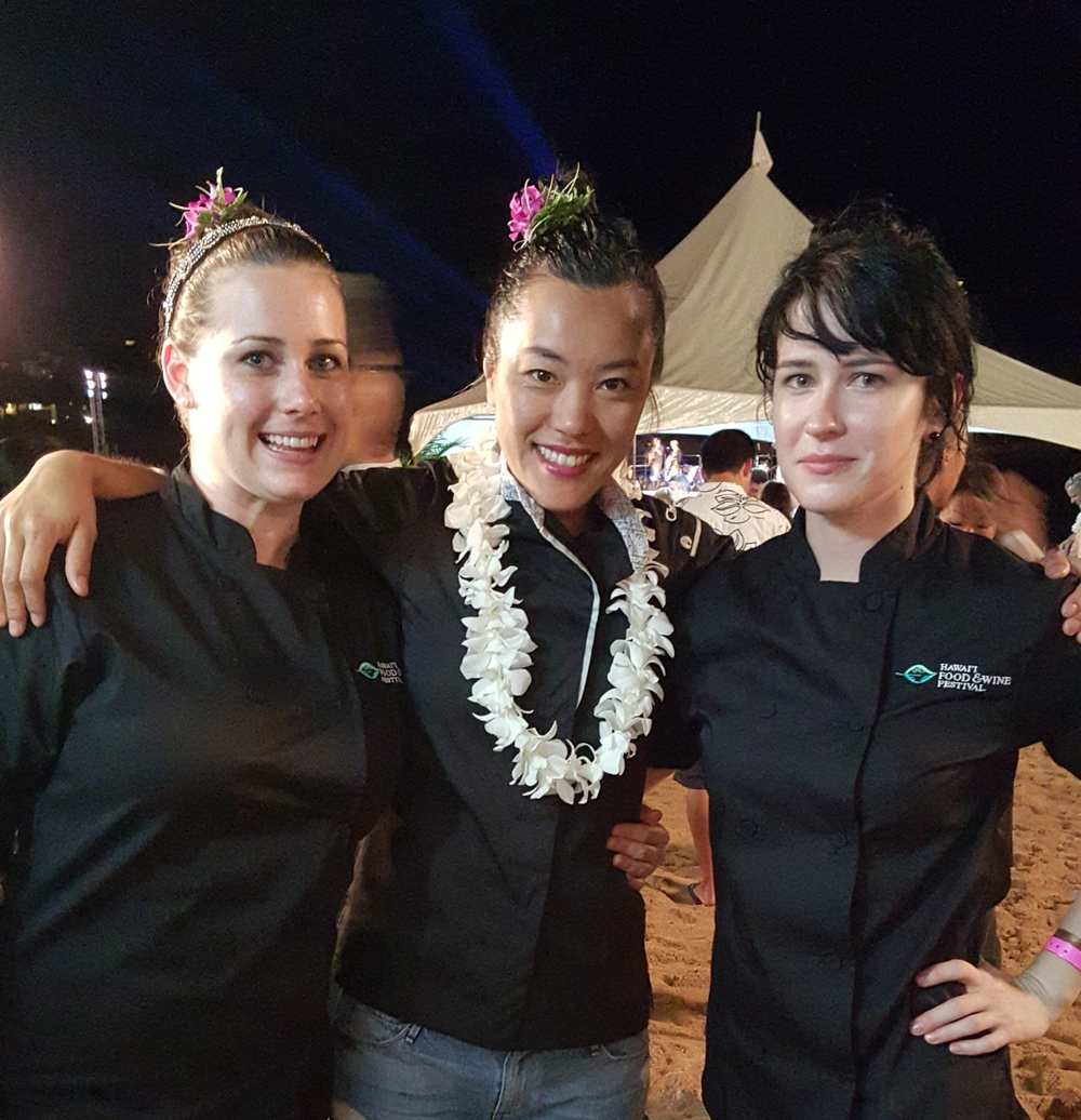 Cooking at the Hawaii Food & Wine Festival with my ladies!