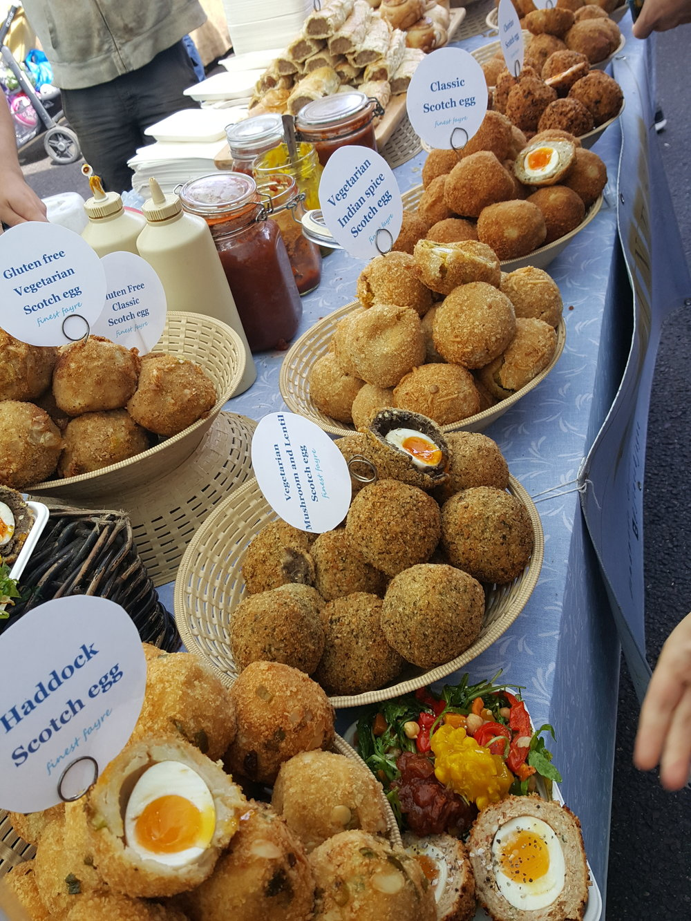 Too many Scotch Eggs at Broadway Market in Hackney.