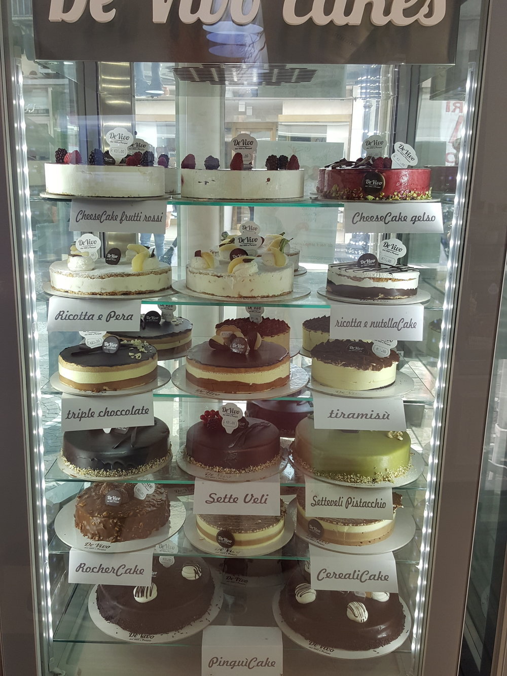 One of Da Vivo's many cases filled with whole cakes.