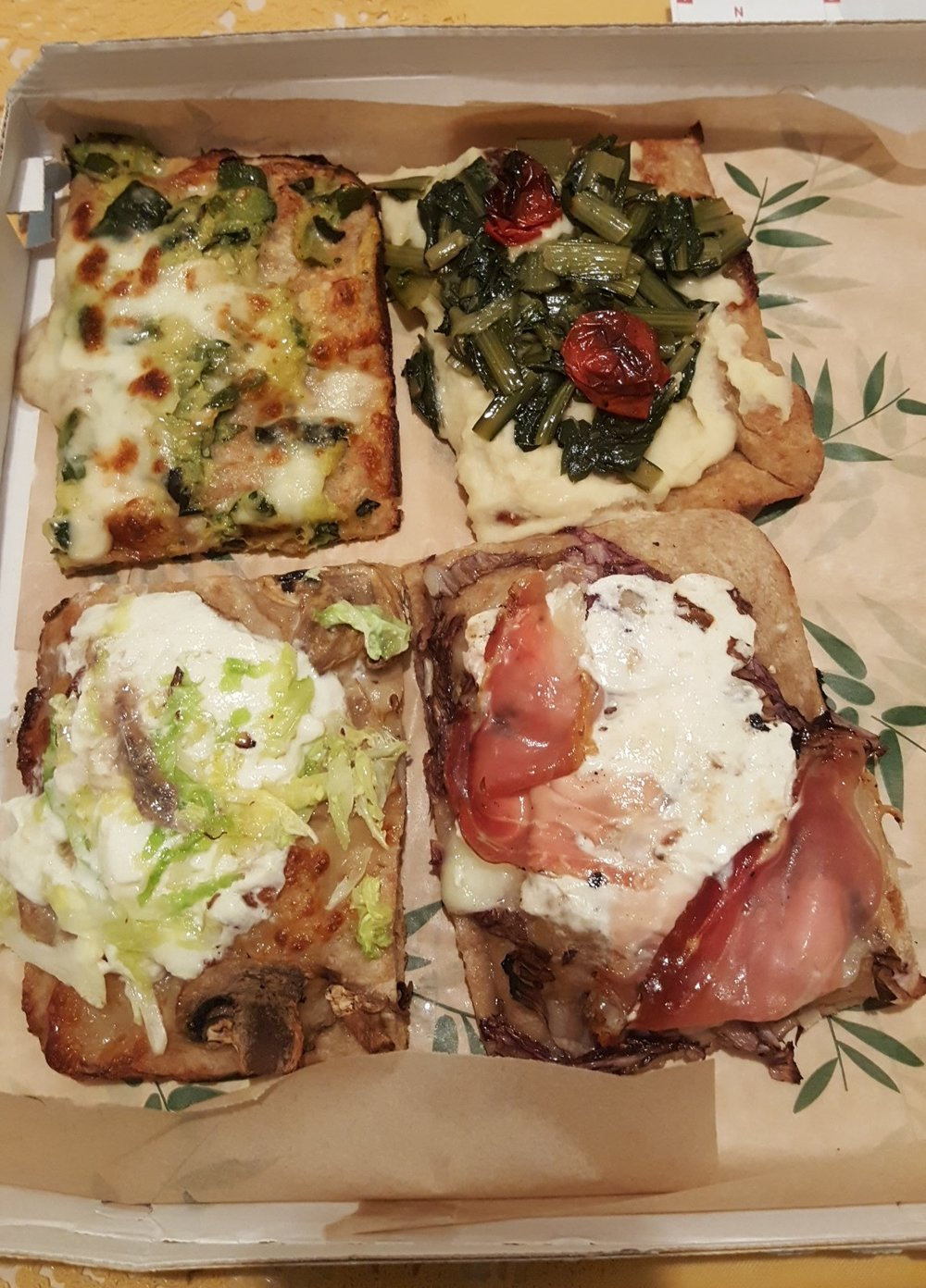 Yes, pizza is considered pastry.  T-B, L-R: zucchini mozz, bean puree with sautéed chard, ricotta with cabbage & anchovy, burrata speck!