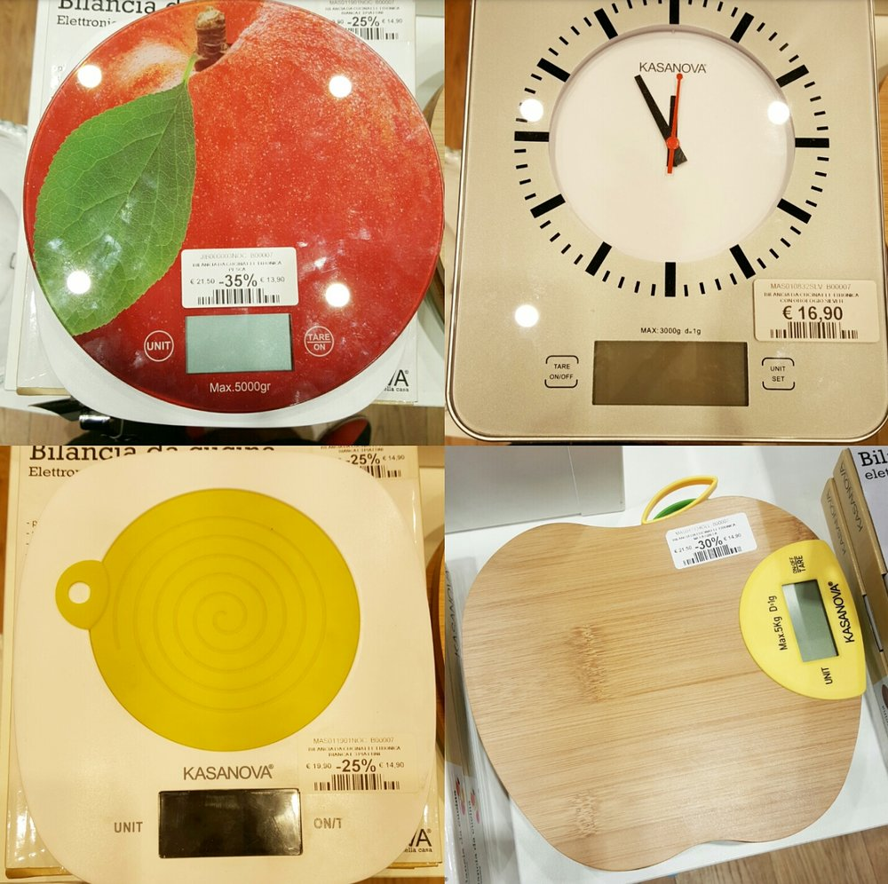 Went into a home store and found a bunch of adorable digital scales! Bottom left had a removeable silicone trivet.