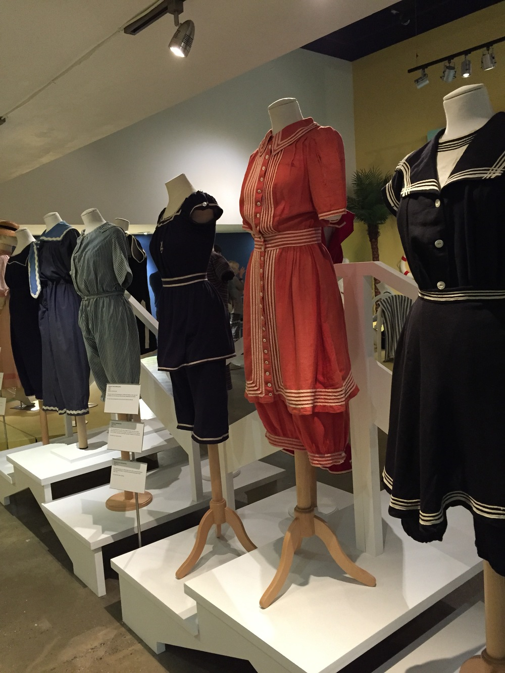 Examples of some of the first bathing suits showcased in the exhibition.