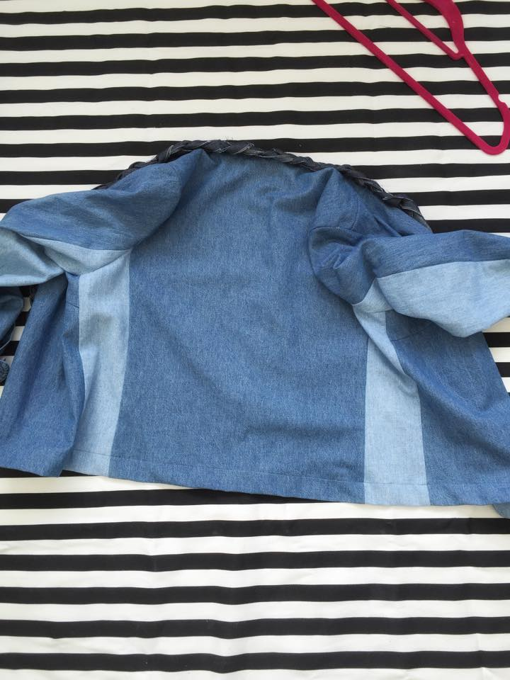 The back view of the denim shirt refashion