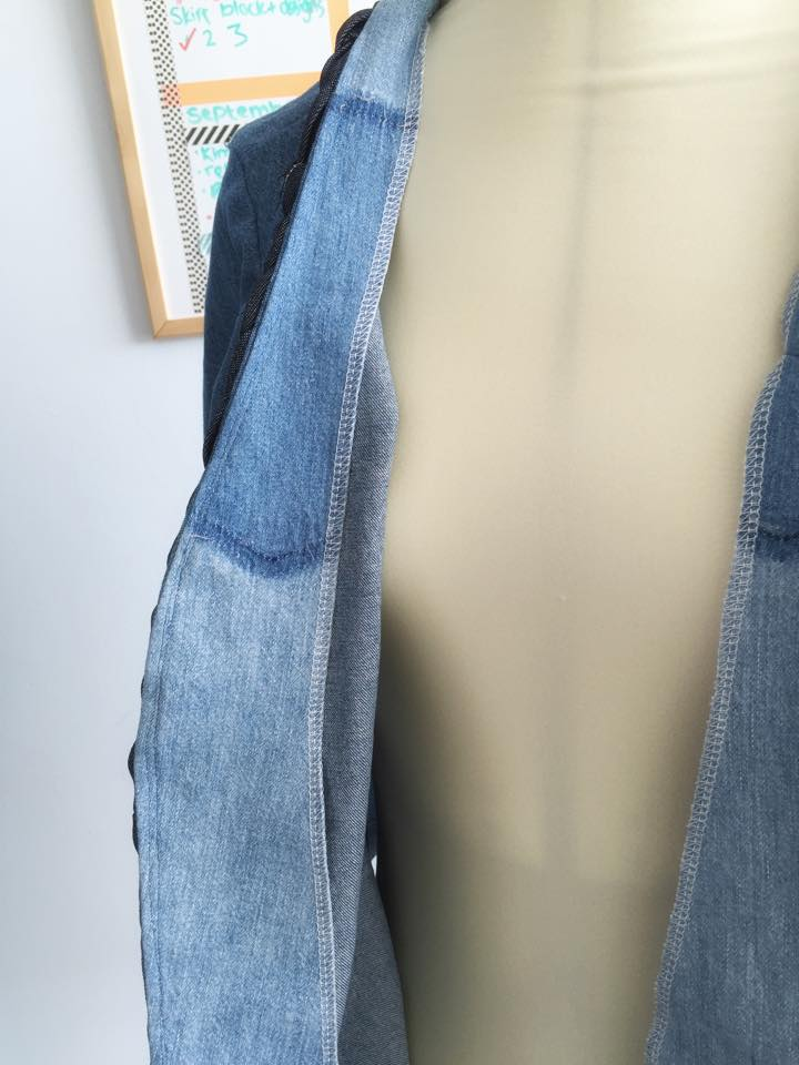 For the facing I used the front of one of the paler denim shirts. I love the pocket fade detail!