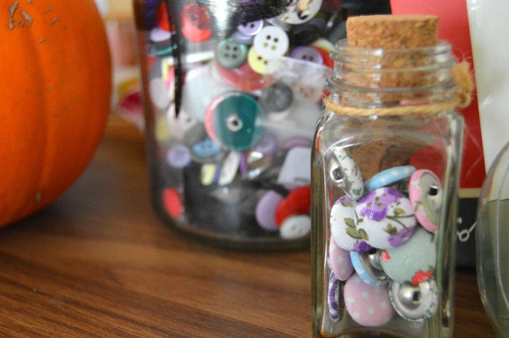 Buttons on a shelf