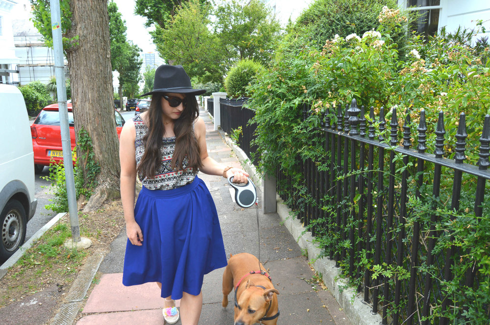 Here's Lola again - I paired the cami with another Sew Over It favourite, the  box pleated skirt  from the book  SOI vintage .