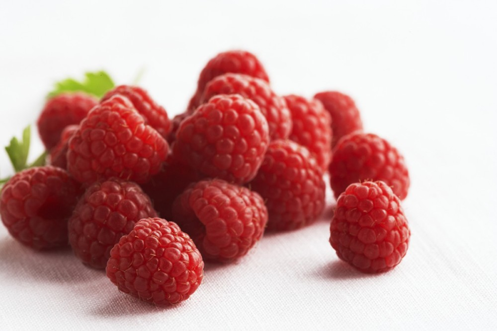 Raspberries are a strong source of Vitamin C and Fiber.