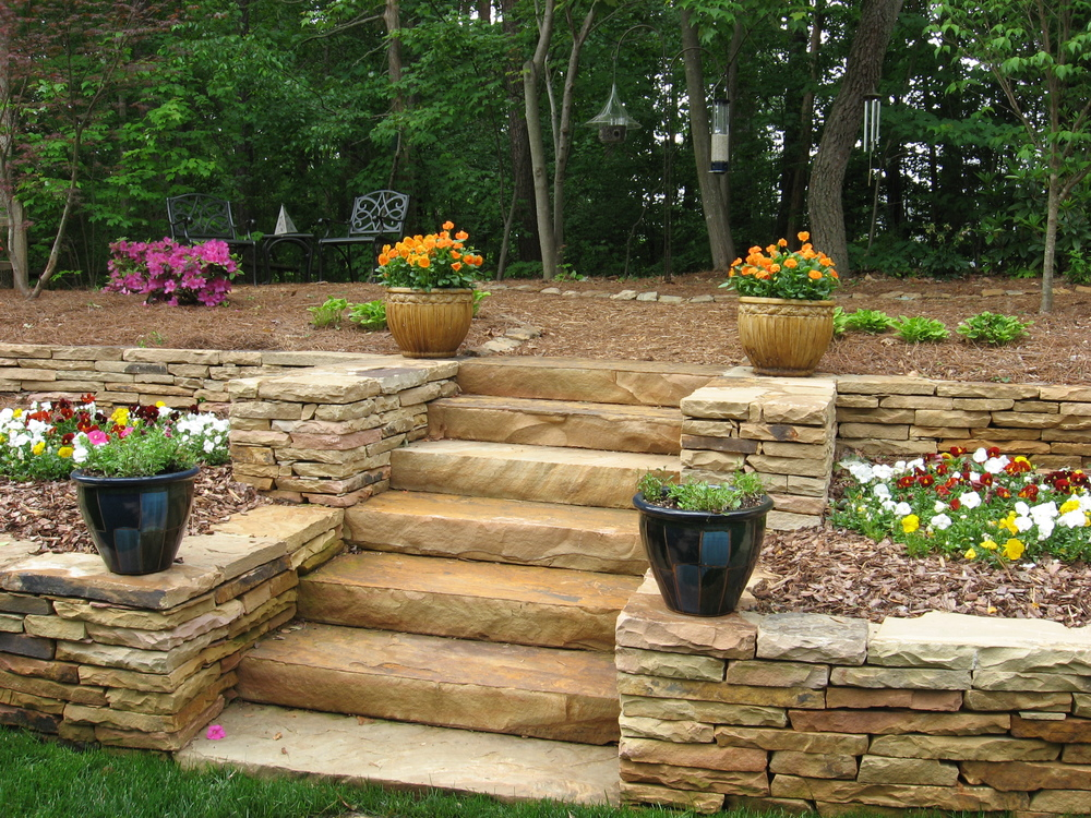 Retaining walls and steps- 3D Landscape Design Greensboro NC