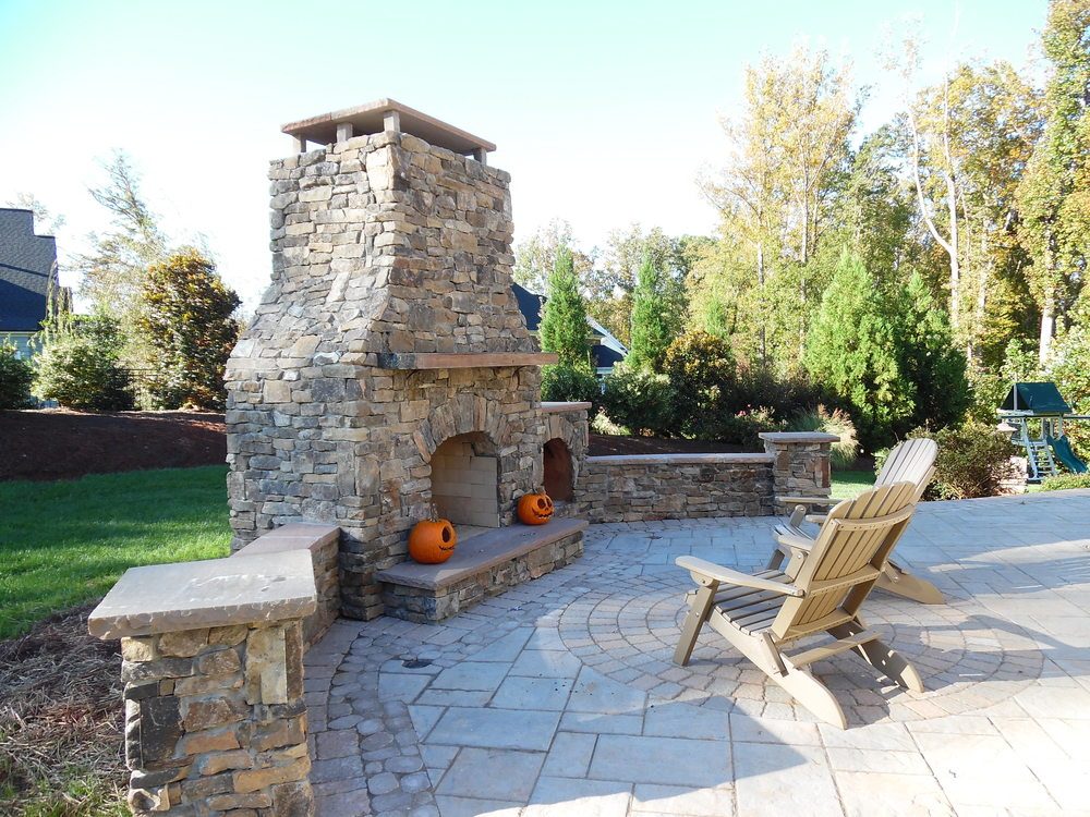 Outdoor Stone Fireplace- 3D Landscape Design Winston-Salem, NC