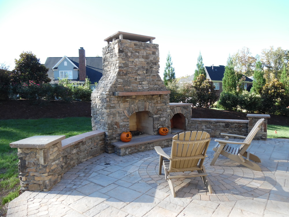 Outdoor Fireplace and Woodbos- 3D landscape Design Winston-Salem, NC