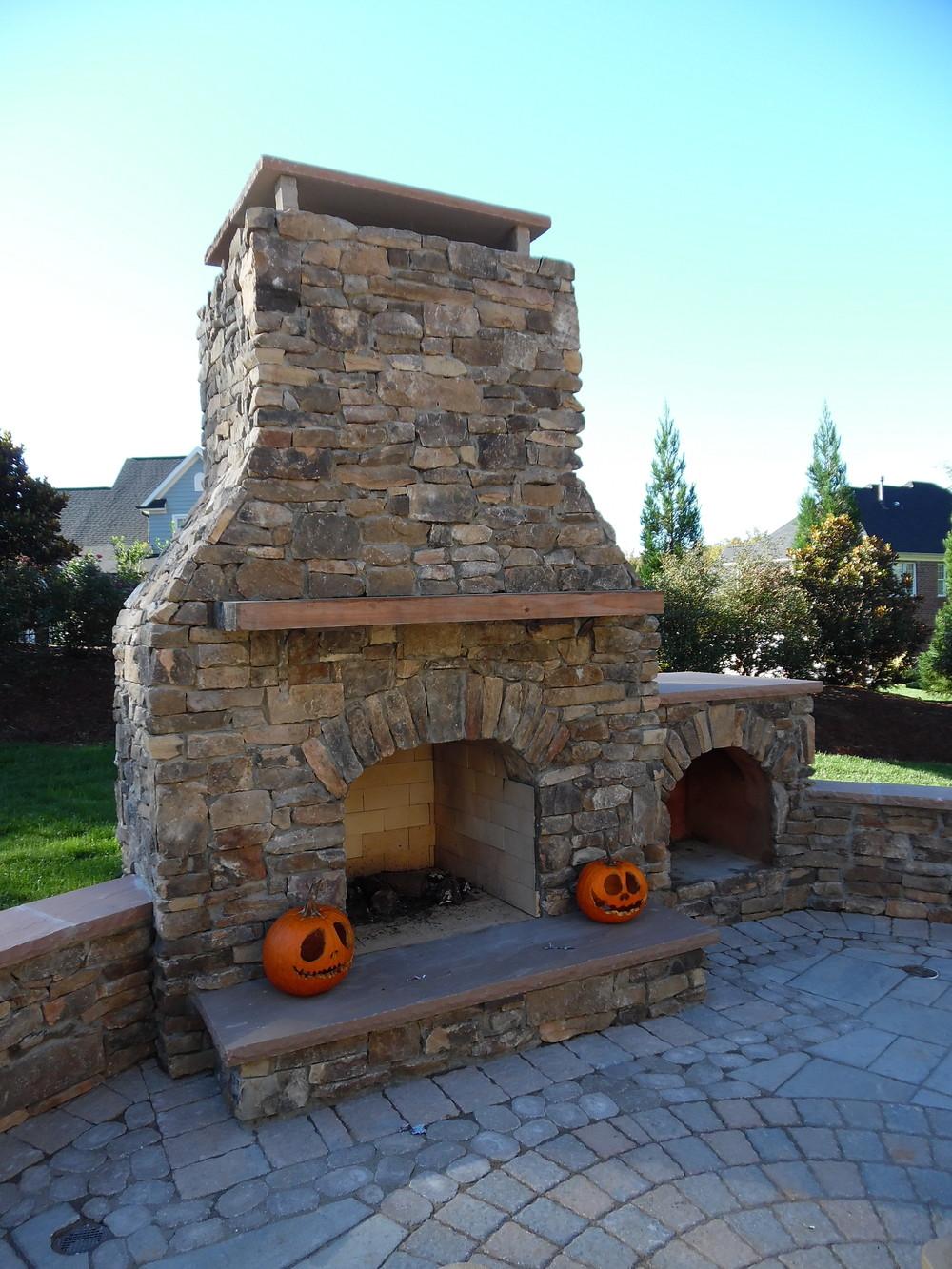 Stone Fireplace- 3D Landscape Design Winston-Salem, NC