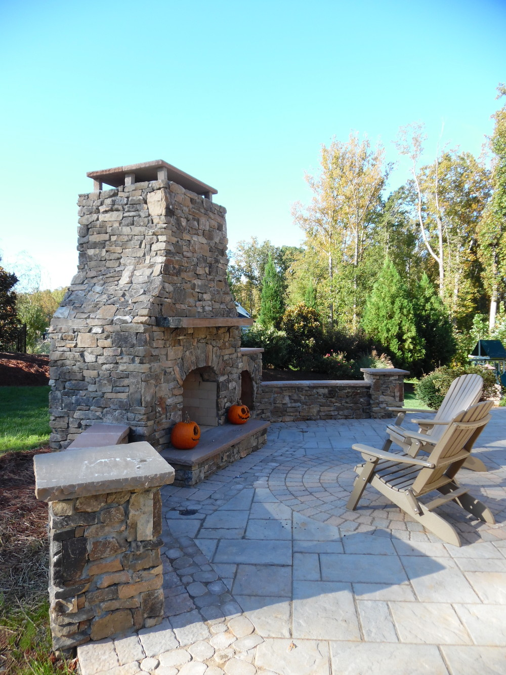 New Patio with Fireplace- 3D Landscape Design Winston-Salem, NC