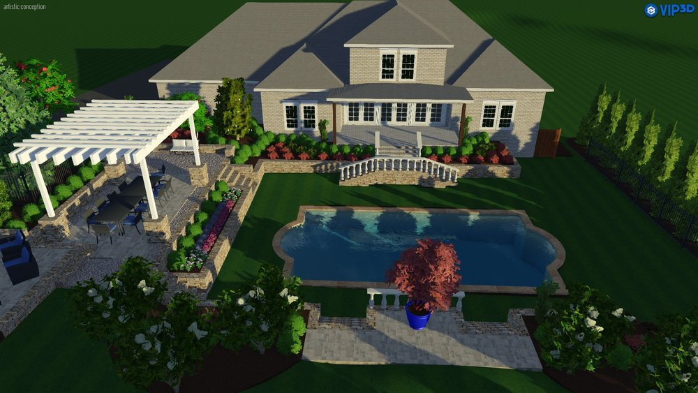 3D landscape design, pool with pool deck, pergola