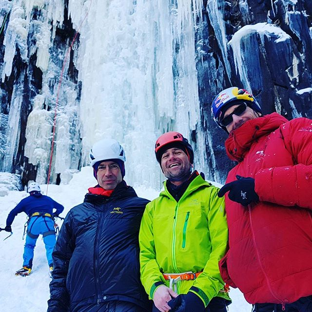 Well, here we are again at the #firstbestfest . Kinda hit the jackpot with this ice climbing clinic this year! None other than @realwillgadd instilling some fundamental techniques, and @raphael.slawinski demonstrating some stealthy moves on thin ice! #bif21