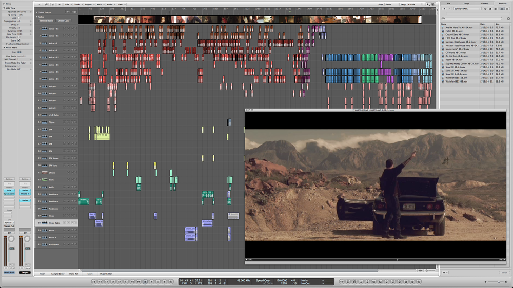 "Screenshot of the audio project file (sound design and dialogue editing) from the film ""Wasteland"", directed by Hermes Cavagnini."