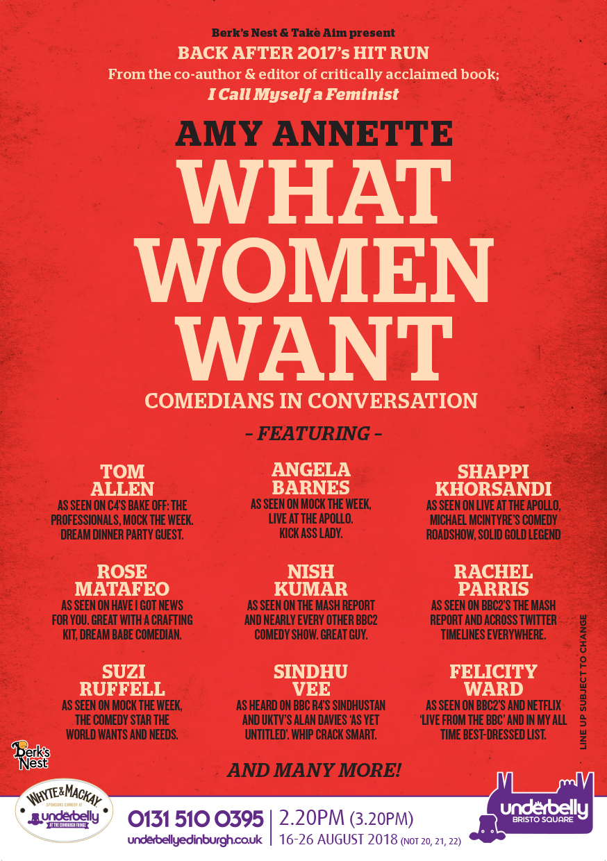 What Women Want with Amy Annette   Underbelly Bristo Square, 14:20  (16th-19th, 23rd-26th only)