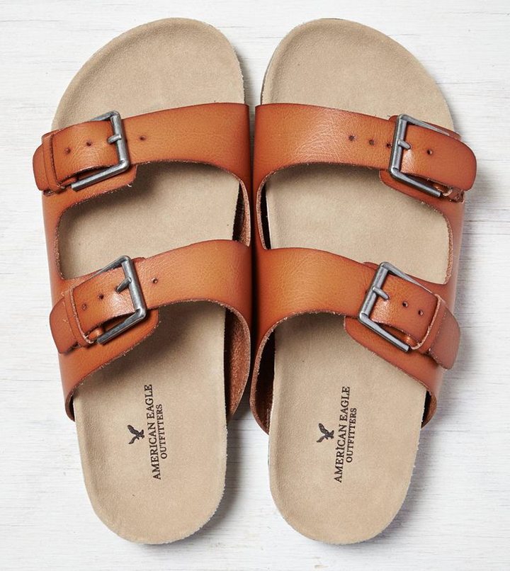 Cognac Double Strap Sandals