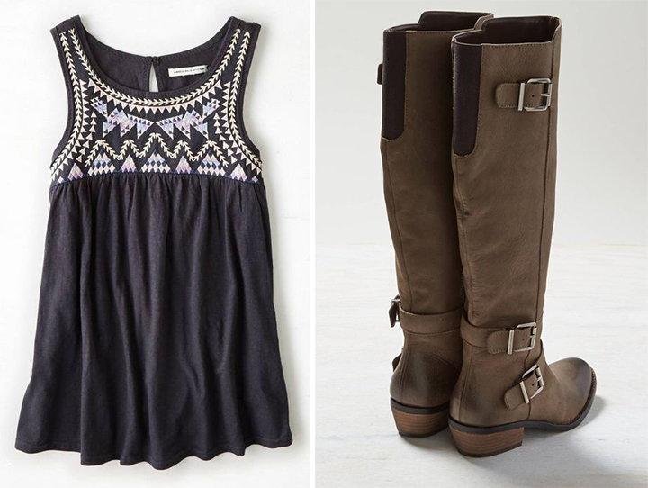 Navy Tank Top + Cute Boots