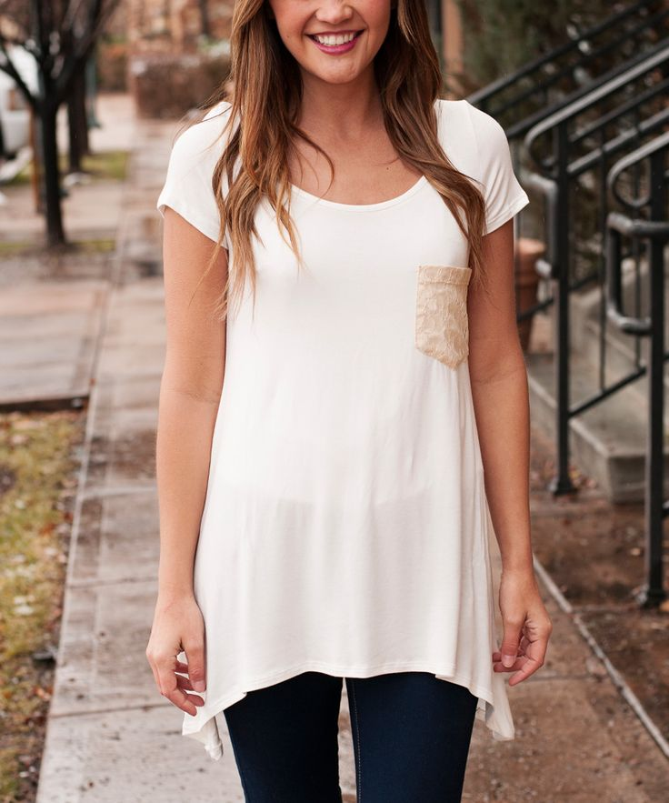 White T-shirt With Lace Pocket