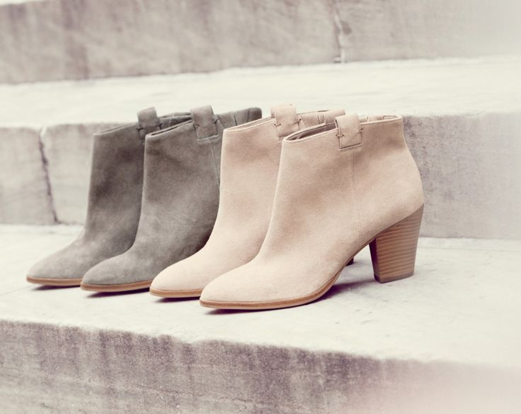 Grey and Pale Pink Suede Booties