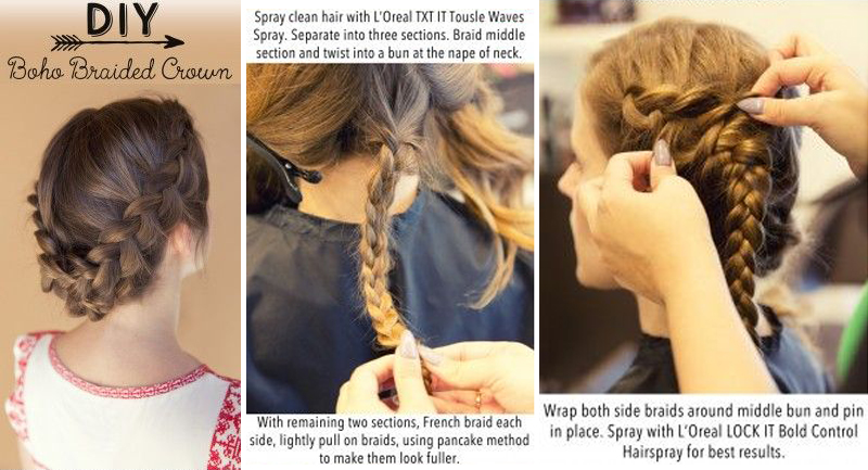 How To - Hair Tutorial - Boho Braided Crown Hairstyle
