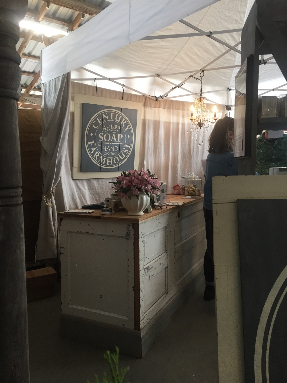 This booth's register/counter was created from old doors! The Century Farmhouse Artisan Soap Company featured lavender from farms in Washington, which I had actually visited last year!