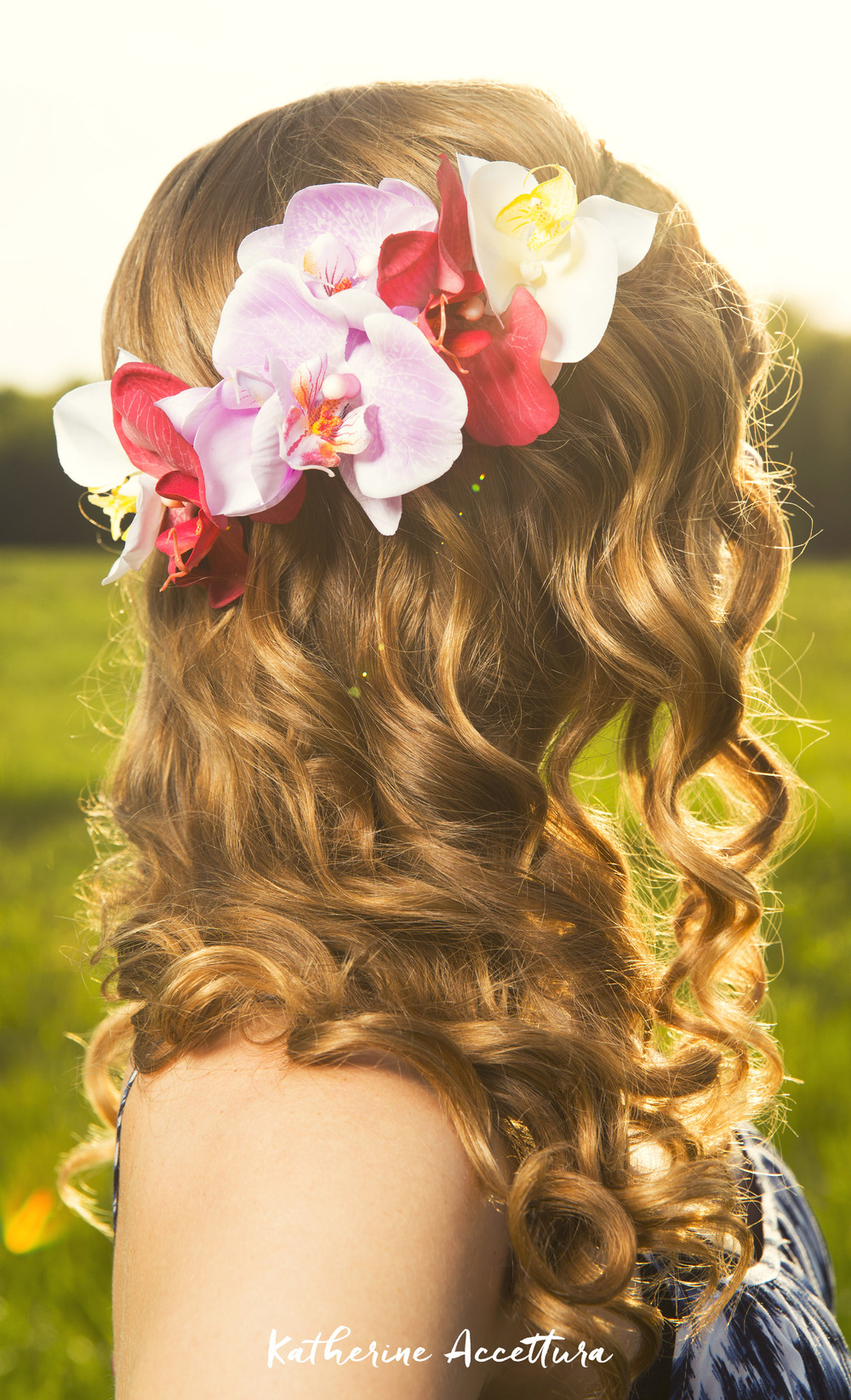 Curly Hair and An Orchid Flower Crown