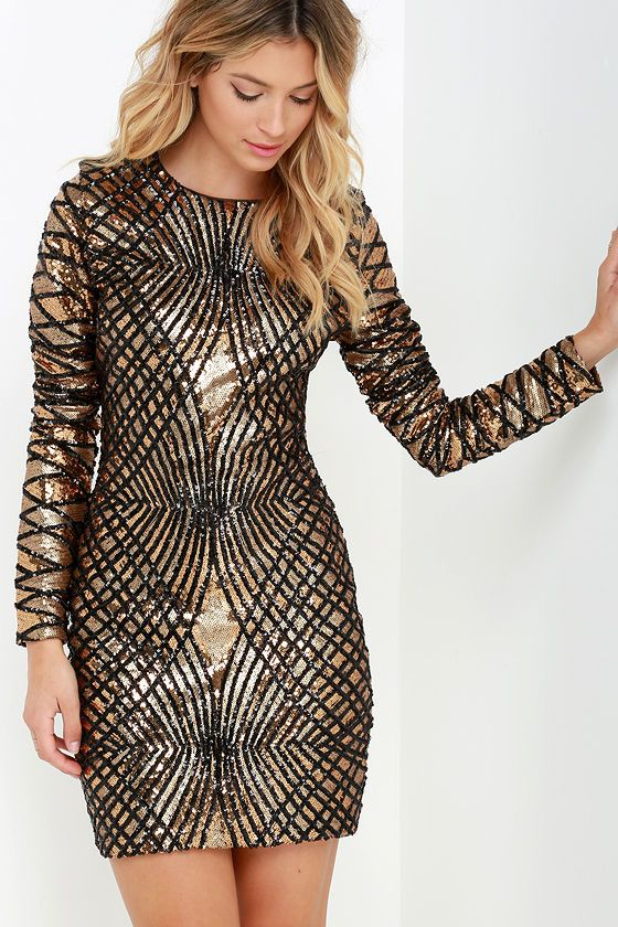 Black and Gold Party Dress / Click To Shop